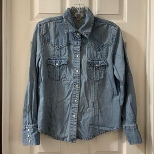 Gap Factory Light Denim Button Down Top/Jacket M
